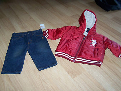 Size 12 Months Uspa Us Polo Assn Puffer Coat & Jeans Nw