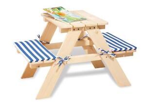 Table pour enfant avec banc en bois massif de jardin 2 ebay - Table jardin enfant bois ...
