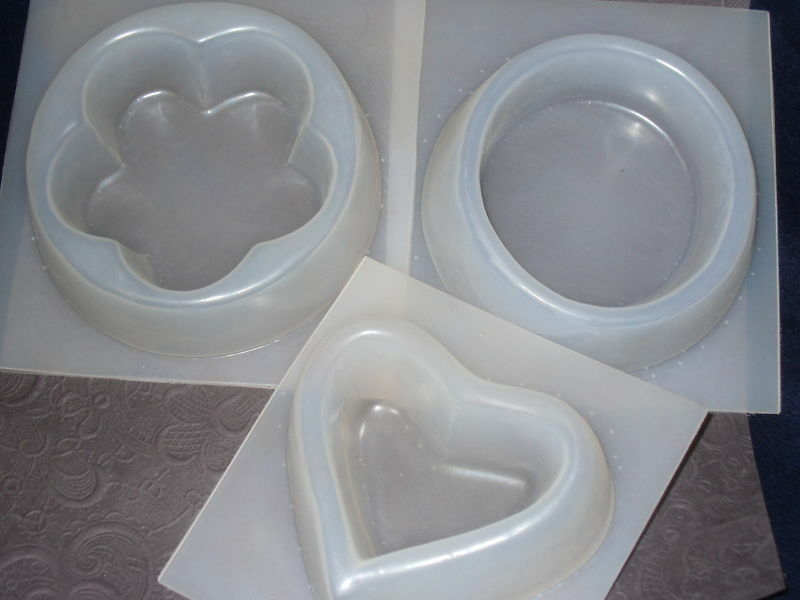 Resin Mold Candle Holder Candy Dish 4-5 12cm Choice Of Round Heart Or Flower