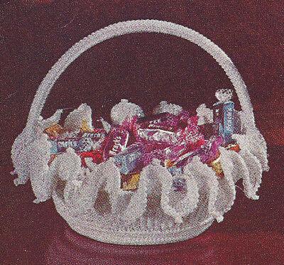 Vintage Crochet Pattern Milk Glass Candy Dish Basket