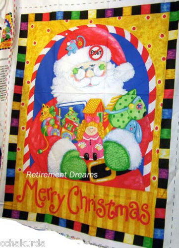 Merry Christmas Craft Panel Hanging Santa Claus Fabric NEW Train Doll Toys Book