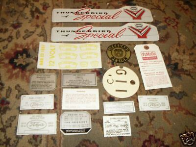 1957 Ford Fairlane Crown Victoria Decal Tag Kit