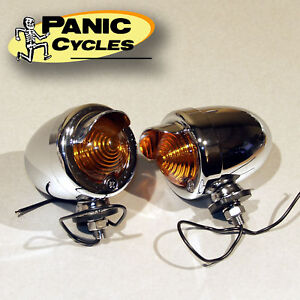 BULLET-VISOR-MARKER-TURN-SIGNAL-LIGHTS-AMBER-CHROME-HARLEY-BOBBER-CHOPPER-PAIR