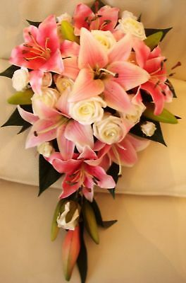 Wedding Bouquet Flowers Real Touch Pink Lily/ivory Rose