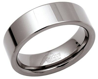 7mm Polished Mens Jewellery Titanium Wedding Band Ring Jewellery