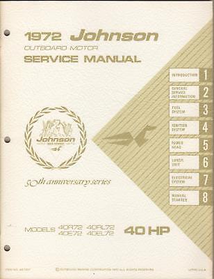 1972 Johnson Outboard Motor Service Manual 40 H.p.