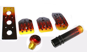 Flame Manual Pedal Pads Gear Knob Footrest Hand Brake Set