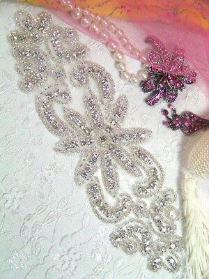 Xr14 Priscilla Crystal Beaded Rhinestone Applique Bridal Motif