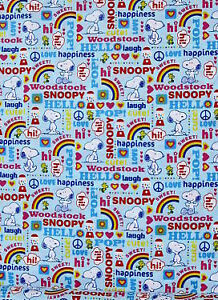 SNOOPY WOODSTOCK BLUE HAPPINESS  LOVE 100%  COTTON  FABRIC 1/2 YARD
