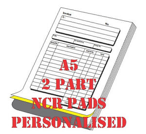 5 x PERSONALISED A5 NCR Invoice/receipt  book, pad ( 2 part )