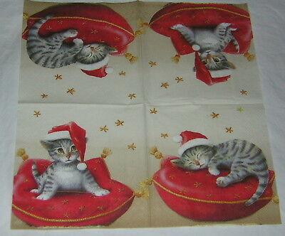 4 stück Santa cat SERVIETTEN Katzen weihnachten Kissen Serviettentechnik tiere