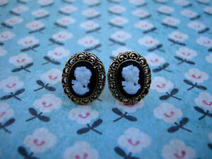 ♥ FUNKY CAMEO EARRINGS VINTAGE STYLE RETRO CUTE VOGUE ♥