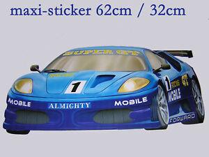 Maxi sticker mural chambre enfant voiture de course n 2 ebay - Stickers voiture chambre garcon ...