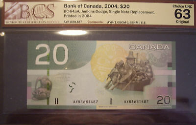 Canada BC-64aA $20 SNR AYR1681487 - BCS ChUnc63 EE