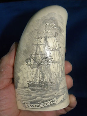 "SCRIMSHAW REPLICA WHALE TOOTH "" OLD IRONSIDES"" 7 Inches around the curve"