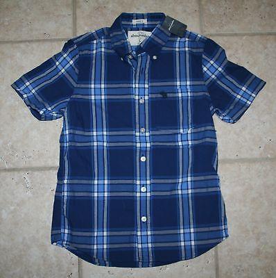 Abercrombie Boy Large Muscle Fit Blue Button Front Shirt - Last One