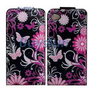 BUTTERFLY FLIP VERTICAL LEATHER CASE COVER IPHONE 4 4G