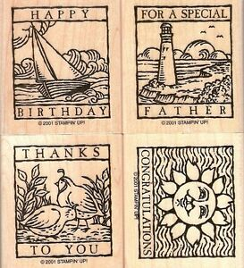 Stampin-Up-WONDERFUL-WOODCUTS-Rubber-Stamp-Set-of-4-2001
