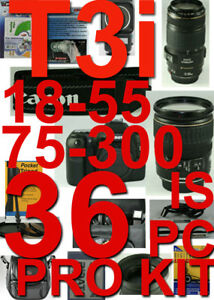 Canon-Rebel-T3I-With-18-55mm-75-300mm-36-PIECE-PRO-KIT-5-Years-Warranty