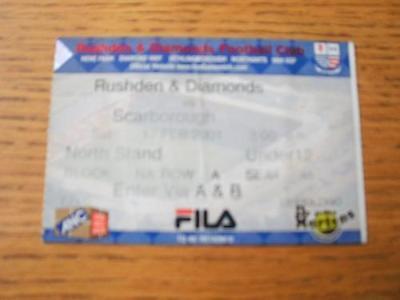 17/02/2001 Ticket: Rushden And Diamonds v Scarborough
