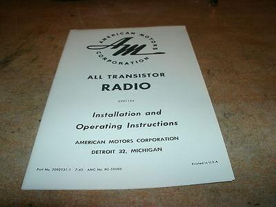 1963 Amc Rambler Classic American Radio Owners Manual