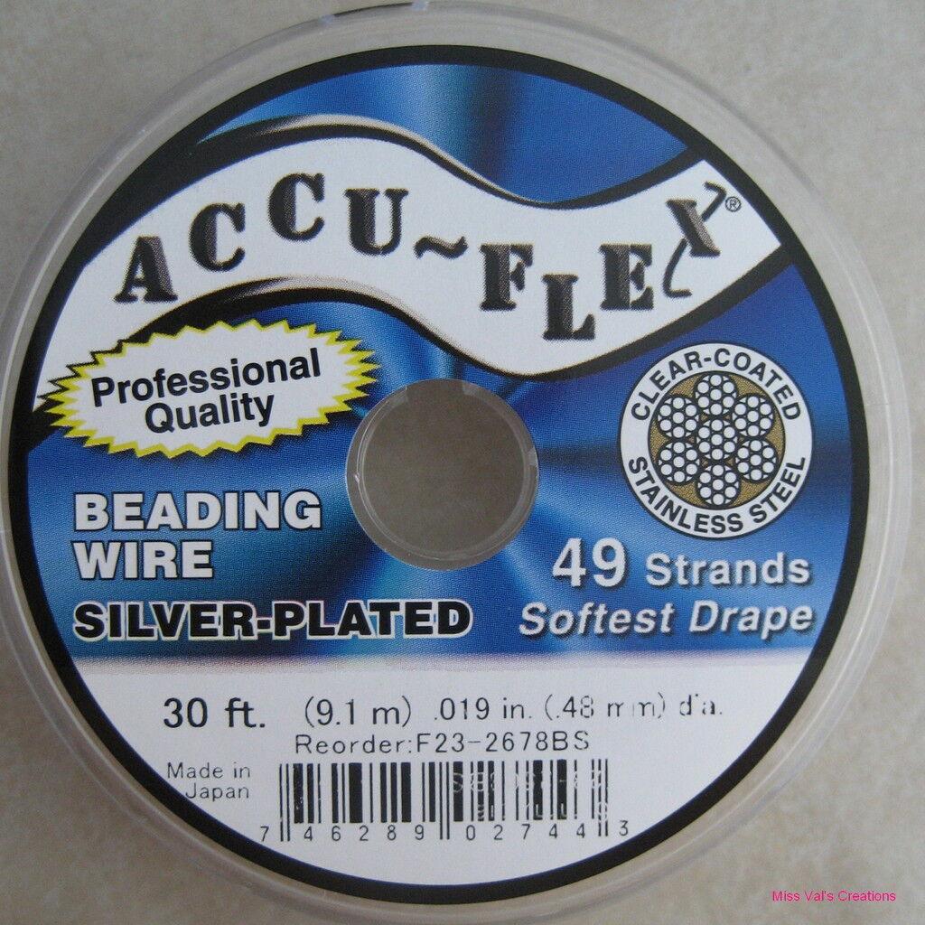 30' Accu-flex Silver Plated .019 Beading Jewelry Wire 49 Strand Accuflex
