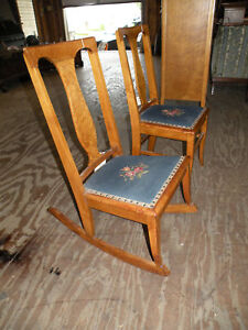 Details about RARE! Antique Birdseye Maple Needlepoint Rocking Chair