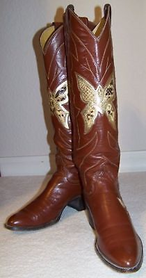7N Vintage JUSTIN WOMENS BUTTERFLY COWBOY BOOTS Exotic