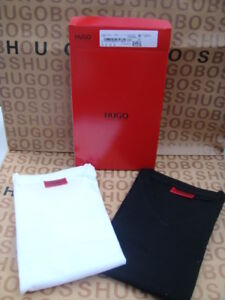 HEW-HUGO-BOSS-DESIGNER-RED-LABEL-V-NECK-BLACK-WHITE-HUG-FIT-FITTED-SUIT-T-SHIRT