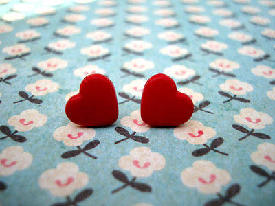 ♥ FUNKY RED MINI HEART EARRINGS CUTE KITSCH  LOVE EMO♥