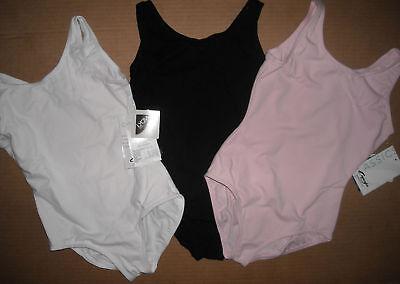 NWT CAPEZIO TANK LEOTARD white black pink Ballet leg cc201 Child /ladies szs