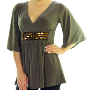NEW-BROWN-3-4-Bell-Sleeve-Gold-Beads-V-Neck-TOP-Large-L