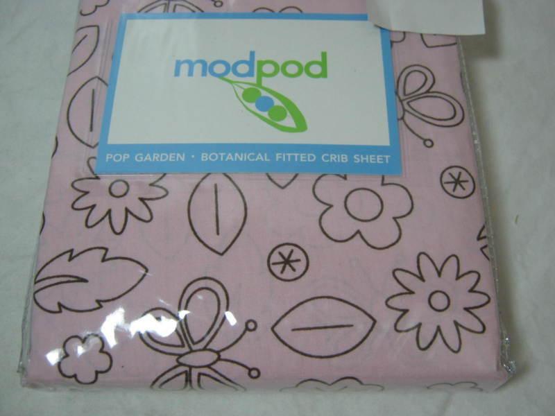 Mod Pod Modpod Pop Garden Botanical Crib Fitted Sheet Pink And Chocolate