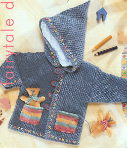 Baby Childrens Hooded Jacket DK Knitting Pattern With Pocket Teddy