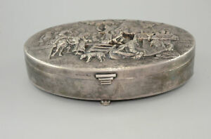 Danish-Silver-plated-Jewelry-Box-Denmark-Oval-Jewellery-Box