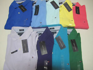 NWT-Mens-Tommy-Hilfiger-Solid-Short-Sleeve-Polo-Shirt