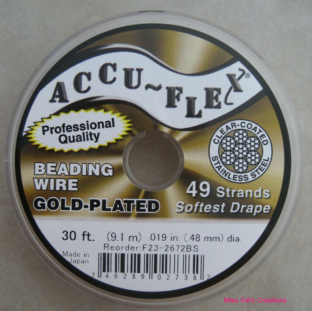 30' Accu-flex 24kt Gold Plated Beading Wire 49 Strand .019 Inch Width Accuflex