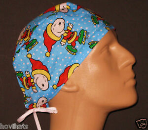 SNOOPY-ICE-SKATING-SCRUB-HAT-RARE-PRINT-FREE-USA-SHIPPING-CUSTOM-SIZING
