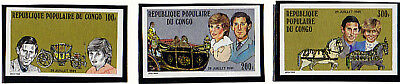 CONGO 1981 ROYAL WEDDING IMPERFORATE SET OF ALL 3 MNH