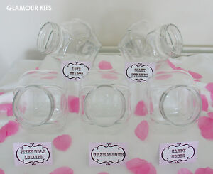 5 GLASS JARS CANDY SWEETIE SWEET BAR TABLE BUFFET WEDDING BIRTHDAY + FREE CARDS