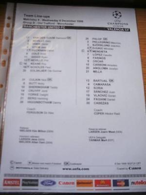 08/12/1999 Colour Teamsheet: Manchester United v Valenc
