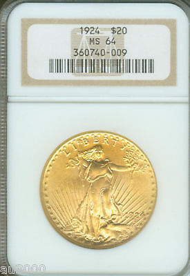 1924 $20 ST. GAUDENS DOUBLE EAGLE NGC MS 64 SAINT MS64 BEAUTIFUL