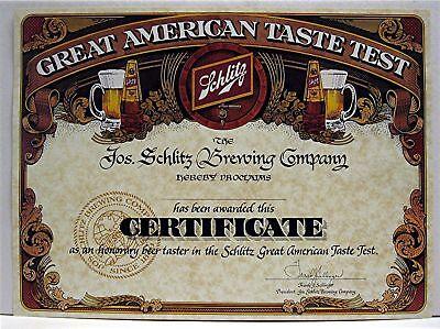 1980 Jos Schlitz Brewing Old Beer Tasting Certificate
