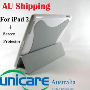 Grey-Smart-Cover-Hard-Back-Case-Cover-Film-screen-protector-for-iPad-2-2G-iPad2