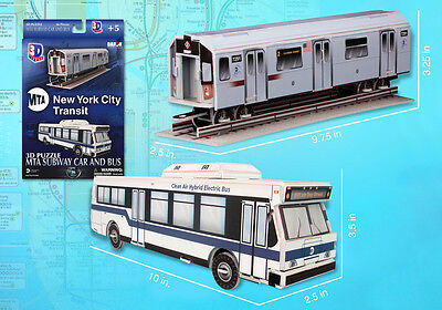 Nyc York City Mta Metro Subway Car & Bus Model Puzzle