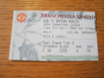 03/04/2001 Ticket: Manchester United v Bayern Munich [E