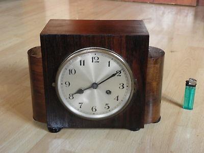 table Clock Mantel art deco SKYSCRAPER wood CHIMING HORLOGE antique wooden era