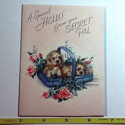 #7- Vintage Unused Marjorie M. Cooper Secret Pal Greeting Card Adorable Puppies