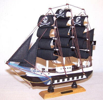 Wooden Pirate Ship 9 Inch Boats Pirates Ships Decor Collectible Wood Sail Boat