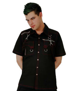 Dead-Threads-Goth-Punk-Bondage-Mens-Shirt-Straps-Zip